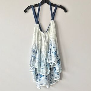 Free People FP One Happy Blossoms Blue White Tank
